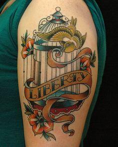"Birdcage ""liberty"" tattoo by Russ Abbott Tattoos"