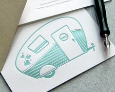 Retro Camper Letterpress Folded Note Card Set - Retro Camper, Vintage Camper, Travel Trailer, Airstream, Aqua Blue (4BCA1).