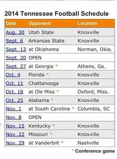 2014 Football schedule.  Go Vols!