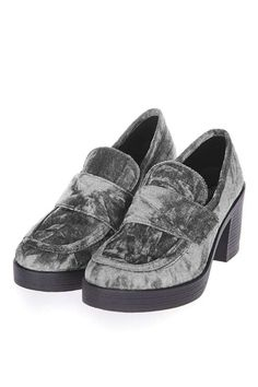"Give the loafer look a new lease of life in this cool chunky style in grey crushed velvet. In a mid-heel, these shoes are perfect for an everyday look. <a class=""pintag"" href=""/explore/Topshop/"" title=""#Topshop explore Pinterest"">#Topshop</a>"