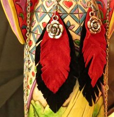 Leather Feather Red Black Suede Rose Dangle by JewelActs on Etsy, $19.00