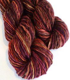 Garnet hand dyed handspun corriedale yarn 1.8ozs 10wpi 110ds av