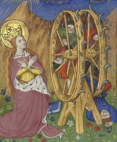 Bibliothèque nationale de France, Département des manuscrits, Latin 1156B, detail of f. 175r (St  Catherine and a gruesome version of her wheel). Book of Hours, use of Rome (15th century)