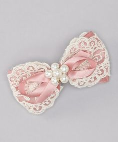 Take a look at this Pink Lace Bow Clip by Delightfully Preppy Kids on #zulily today!