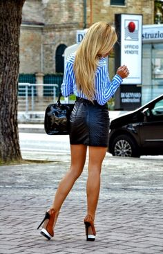 Great legs and skirt!