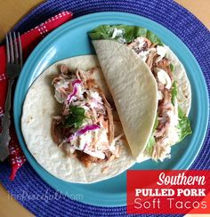 Make these Southern Pulled Pork Soft Tacos with 10 minutes of prep time, a few hours in the slow cooker and 5 minutes of assembly before dinner -- easy peasy! from ThePeacefulMom.com