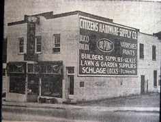 Exterior of Citizens Hardware  Supply Co. on its 19th birthday, July 17, 1960. Located at 941 Merrimon Ave. Sign for DuPont paints is on the store front side. K255-S copy.jpg (401×303)