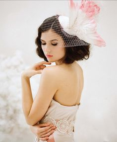 Feather Fascinator Birdcage Veil Pink Ombre by BatcakesCouture,