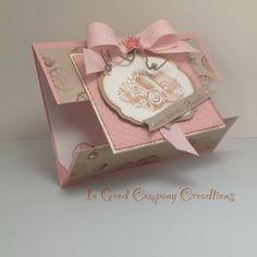 SU Paper - Crumb Cake, Pink Pirorette, Whisper White.  Ribbon-Blushing Bride, Chevron.  Stamps - SU Elementary Elegance, Stipple Shells.  Inkadinkado  shells.