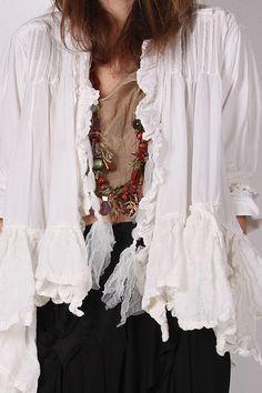 """Romantic """"poet blouse"""" linen, organdy lagenlook jacket"""