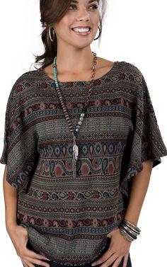 RU Cowgirl® Women's Southwest Print Kimono Sweater Tunic