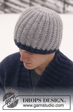 """Christmas gift idea for a man: Knitted DROPS men's hat in """"Alaska"""". ~ DROPS Design"""