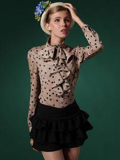 Cute Khaki Polka Dot Falbala Shirt