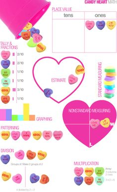 Lots of Candy Heart Math Ideas for all grade levels!