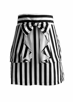 Domino Dollhouse - Bow Out Skirt in Black + White Stripe