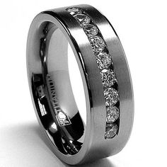 8 MM Men's Titanium ring wedding band with 9 large Channel Set CZ sizes 7 to 13