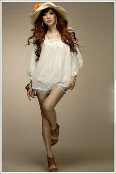 Charming Strapless Wide Sleeve Chiffon Shirt White