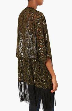 Love! Fringe Metallic Lace Kimono