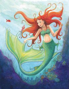 'Samy die Meerjungfrau ' by Birgit Boley on artflakes.com as poster or art print $16.63