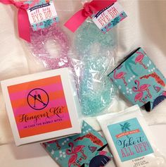 Tropical #bachelorette #party #welcome #bag swag for a Naples beach bachelorette! Including a hangover kit, eye masks, makeup wipes, and koozies I Custom by Nico and Lala