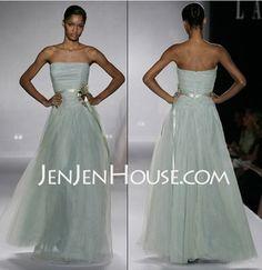 A-Line/Princess Strapless Floor-Length Satin  Tulle Bridesmaid Dresses With Ruffle  Sash (007004130)