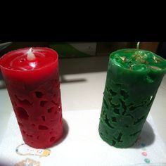 Ice cube candles made in a Pringles can!