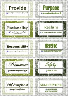100 Values Cards (P-S) inspired from Motivational Interviewing. Print out on Avery business cards and use with clients to help them define and prioritize their values.