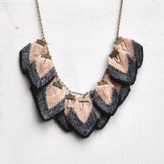 Petalli - Knitted Petal Necklace in Apricot by Amy Lawrence | Made By Hand Online