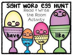 FREEBIE!! Sight Word Egg Hunt: Read and Write the Room Activity.