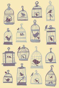 Birds #illustration cage iphon, beauti bird, illustrations, birdcag, iphon case, art prints, tattoo, bird cage art, birds