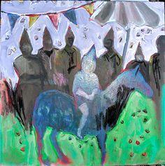 "pony boy birthday  18""x18"" | mixed media on canvas"
