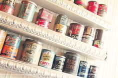 Vintage coffee cans- for cute kitchen storage