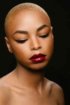 short hair, shorter hair, big chop, makeup, young women, natur hair, red lips, beauti, lipstick