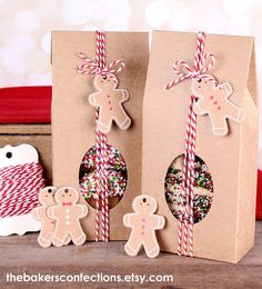 Christmas Treat Boxes Kit with Kraft Brown Boxes, Bakers Twine, Gingerbread Man Tags (Set of 6)