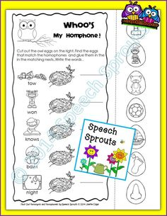 Freebie from Speech Sprouts! Tackle multiple meanings with this Homonyn/Homograph interactive activity from my Hoot Owl Homonyms and Homophones  #speechtherapy