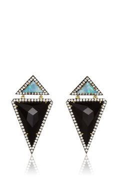 One Of A Kind Onyx Triangle And Opal Drop Earrings by Jemma Wynne for Preorder on Moda Operandi