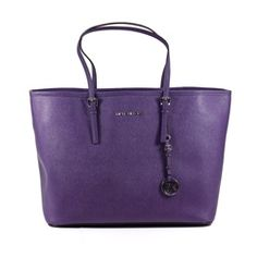 Michael Kors Jet Set Travel Tote Purple PVC Large Handbag - OneLittleBox.com