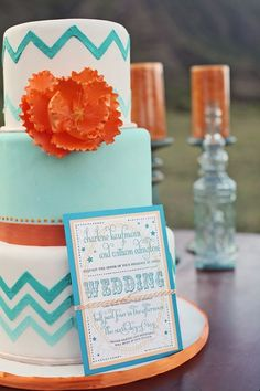 Orange #TiffanyBlue #teal #turquoise #white #wedding #cake … Budget wedding ideas for brides, grooms, parents & planners ... https://itunes.apple.com/us/app/the-gold-wedding-planner/id498112599?ls=1=8  plus tips on how to have a dream wedding, within any budget ♥ The Gold Wedding Planner iPhone App ♥  #wedding #ceremony #reception #bride #bridesmaids #groom #groomsmen #bouquets #dresses #rings #cakes #tables #favours #ideas …