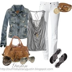 white jeans and jean jacket, created by stacy-gustin on Polyvore