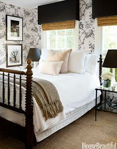 Ralph Lauren Home's Ashfield Floral wallpaper turns a small guest room in designer Tobi Fairley's Hollywood Hills farmhouse into a romantic retreat.
