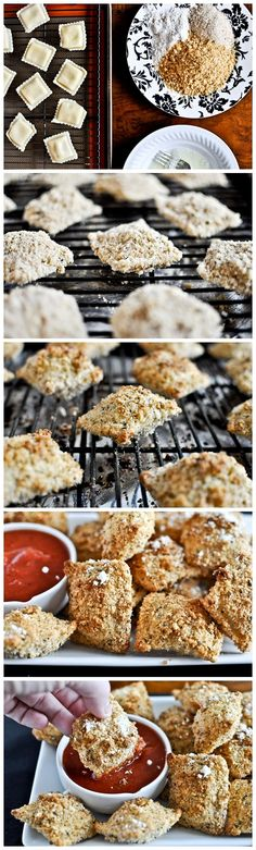 Crunchy Oven Fried Cheese Ravioli