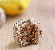 Lemon Cookie Dough Bites: NO sugar, NO flour, NO baking required http://chocolatecoveredkatie.com/2014/03/11/mini-lemon-cookie-dough-bites/