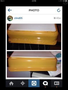 Before and after using Bar Keepers Friend to clean vintage Pyrex.