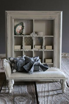 Linen chaise and display cabinet