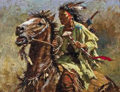 Howard Terpning began his career as a commercial illustrator as did Frederic Remington, but in 1974 Terpning re-focused his career on painting the historical American West. His portfolio of Plains Indian art is comparable to the early masters of Western art, and includes his 2014 oil titled War Chief.  – Courtesy Settlers West Galleries, Tucson, AZ –