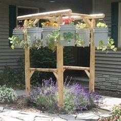 garden planters, porch swings, garden ideas, yard, bucket, herbs garden, hang garden, flower, hanging gardens