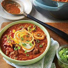 Quick Beef Chili | Rich, beefy petite tender, the quick-cooking foundation of this stew and a supermarket steak cut from shoulder, looks and tastes like tenderloin but costs a third of the price. | SouthernLiving.com