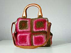 SALE 25% off discount Coupon Code: NZL25 Women bag granny square crocheted felted pink of brown by NzLbags, $155.00