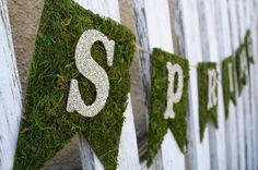 A Diamond in the Stuff: Spring Moss & Glitter Glass Banner