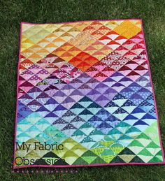Idea for a charm quilt - maybe the big 10 swap? My Fabric Obsession: Rainbow QST quilt finish